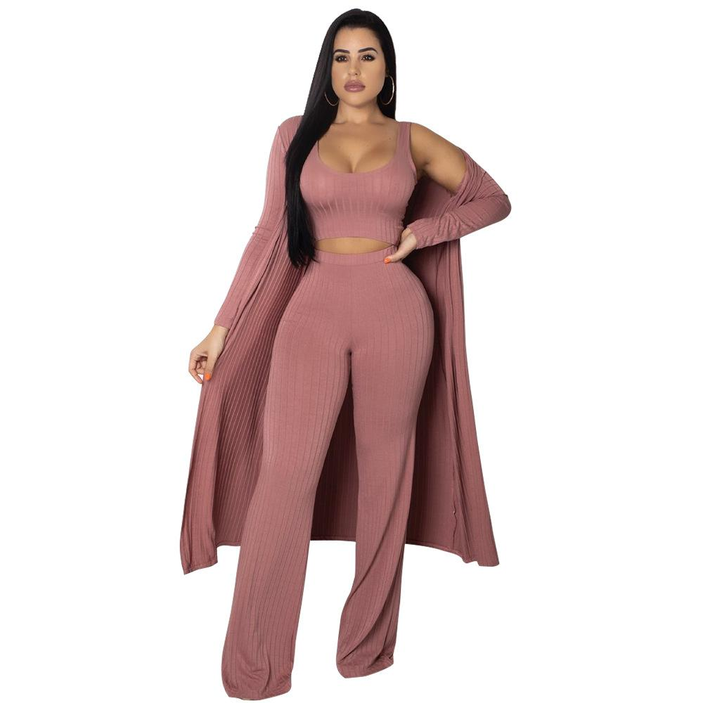 dcc60556714 2019 Winter Full Sleeve X Long Cardigan Set Jumpsuit Long Coat+Crop Top+Wide  Leg Pant Knitted Rompers Conjuntos Ropa Mujer From Stripe