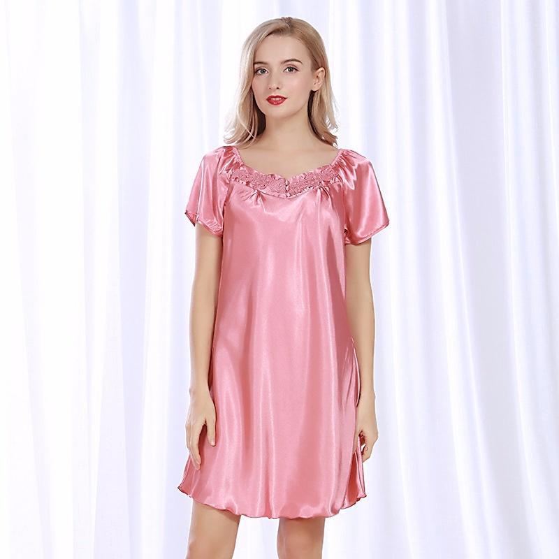 Compre Pijama De Seda Mulheres Verão Grande Tamanho Gordo Mm Camisa Longa  Manga Curta Noite Dress21 De Max4075 164930932