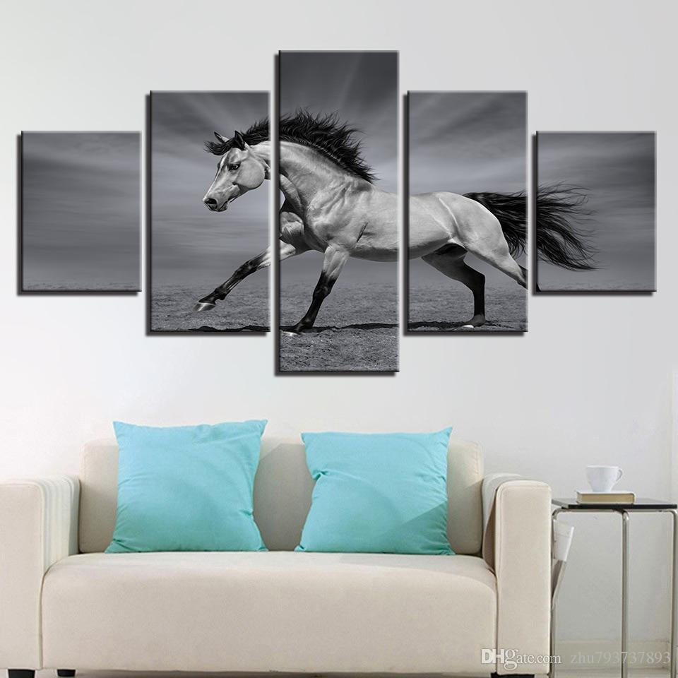 2018 Framework Gray Horse Landscape Canvas Pictures Modular Wall Art Painting Hd Printed Animal Poster For Living Room Decor From Zhu793737893