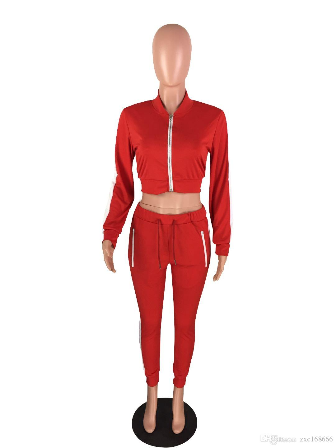 Women Red Sexy Crop Top Two Piece Set Women Tracksuit Short Jackets and Long Pants Causal Long Sleeve Women Clothing Sweatsuit Set