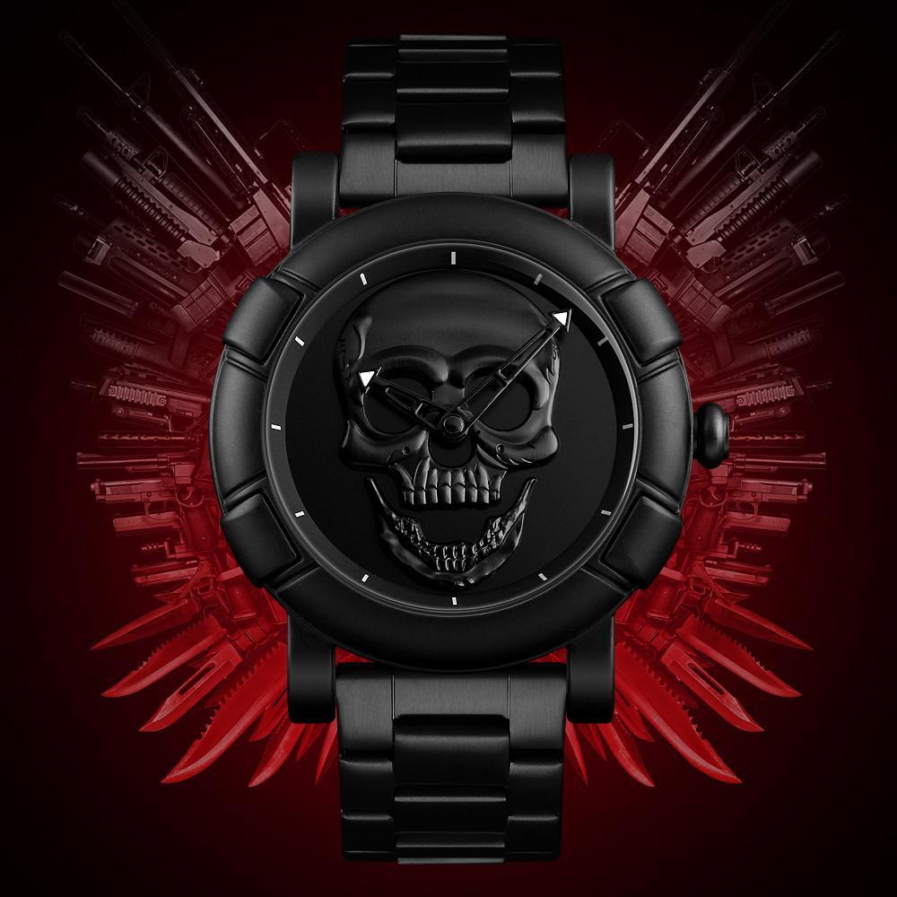 684471dad36 Compre SKMEI Mais Recente Modelo De Luxo Da Marca Masculina Relógio De  Quartzo Skeleton Skull Men Watch Homens À Prova D  Água De Aço Inoxidável  Masculino ...