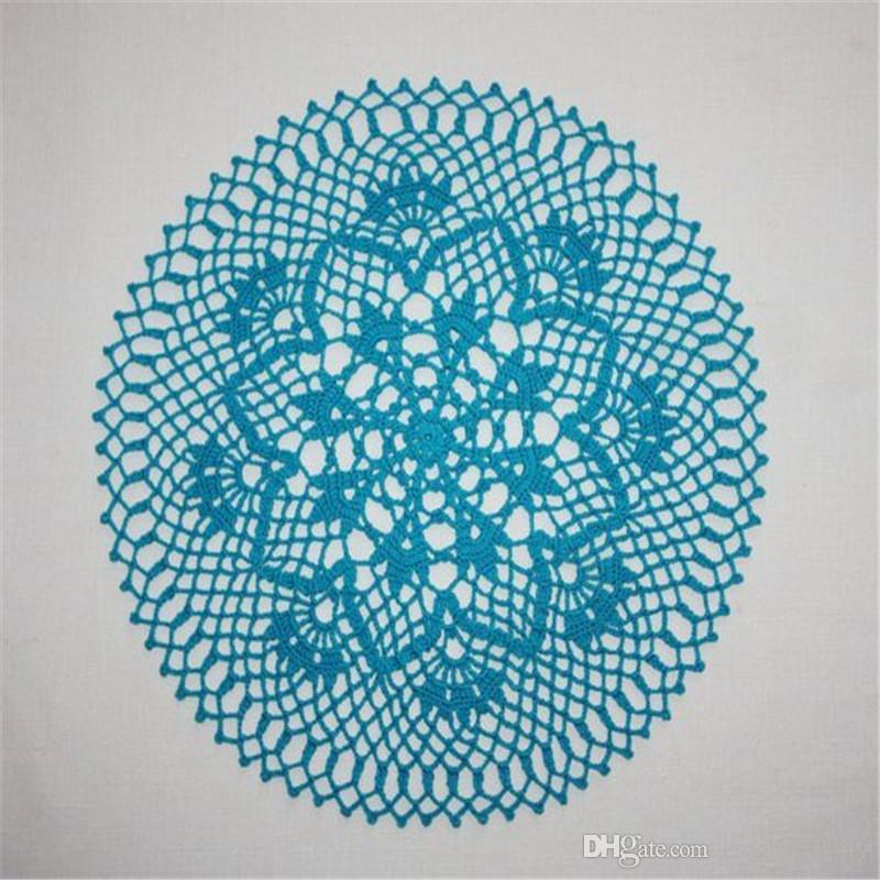 Turquoise Crochet Doily, Lace Round Doilies, Flower Doily, Cotton Doily, Topper Crochet Centerpiece, 13 inches