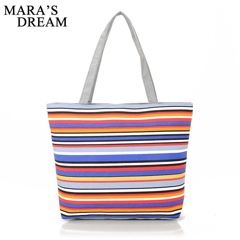 b65540a6a05c 2019 Fashion Mara s Dream Canvas Shopper Bag Striped Rainbow Prints ...