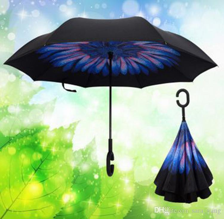 3b32e3c198b01 2019 C Hook Reverse Umbrella Double Layer Windproof Inverted Chuva Self  Stand Inside Out Sun/Rain Protection C Hook Hands Lin2685 From Sara_yang,  ...