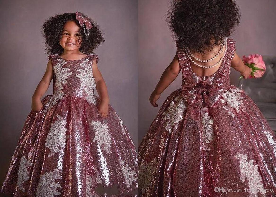 9e4bc228209a 2019 New Arrival Dusty Rose Sequined Flower Girl Dresses Jewel White Lace  Applique Ball Gown With Pockets Cheap First Communion Dress Toddler Dress  Dress ...