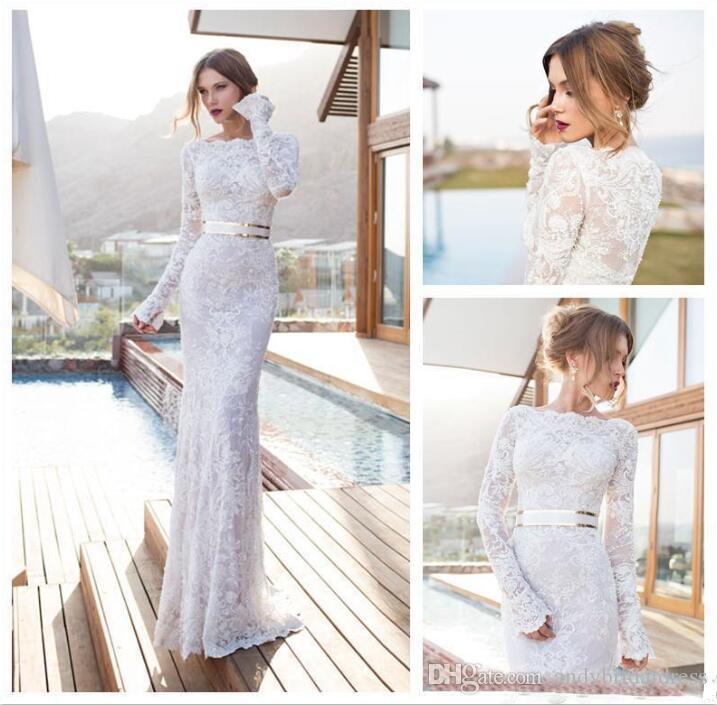 Long Sleeves Wedding Dresses Jewel Neck Lace Applique Sash Mermaid Bridal Gowns Sweep Train Beach Bridal Dress