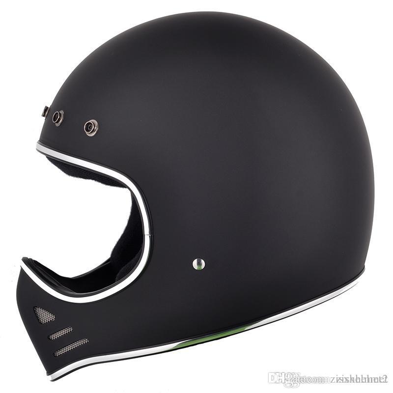 Fiberglass Full Face Motorcycle Cross Vintage Shield Visor Helmet Street Custom Safe Protective Cafe Racer Drop Shipping Black White Cool Best Helmets