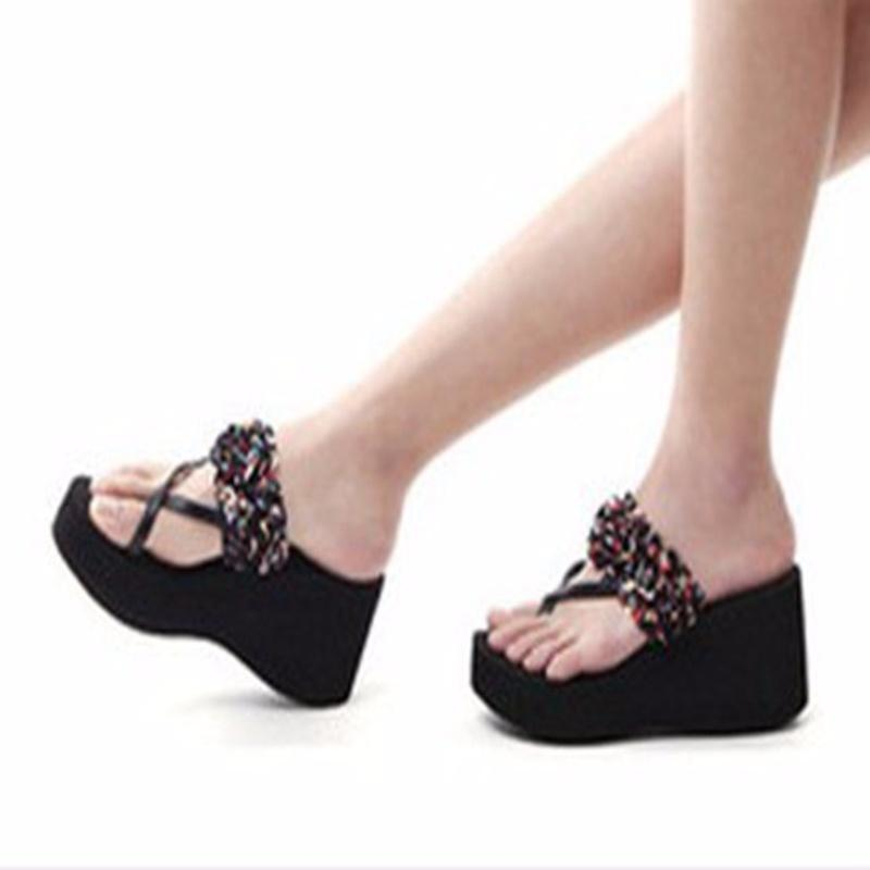 Satin Floral Wedges Flip Flops Summer Muffins High Heel Sandals