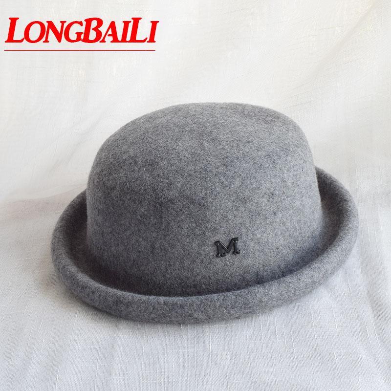 b04f63c35807 Sombrero de fieltro de lana de invierno gris Sombrero Chapeau Mujeres  Fedoras Mujer Gorros BMDW026