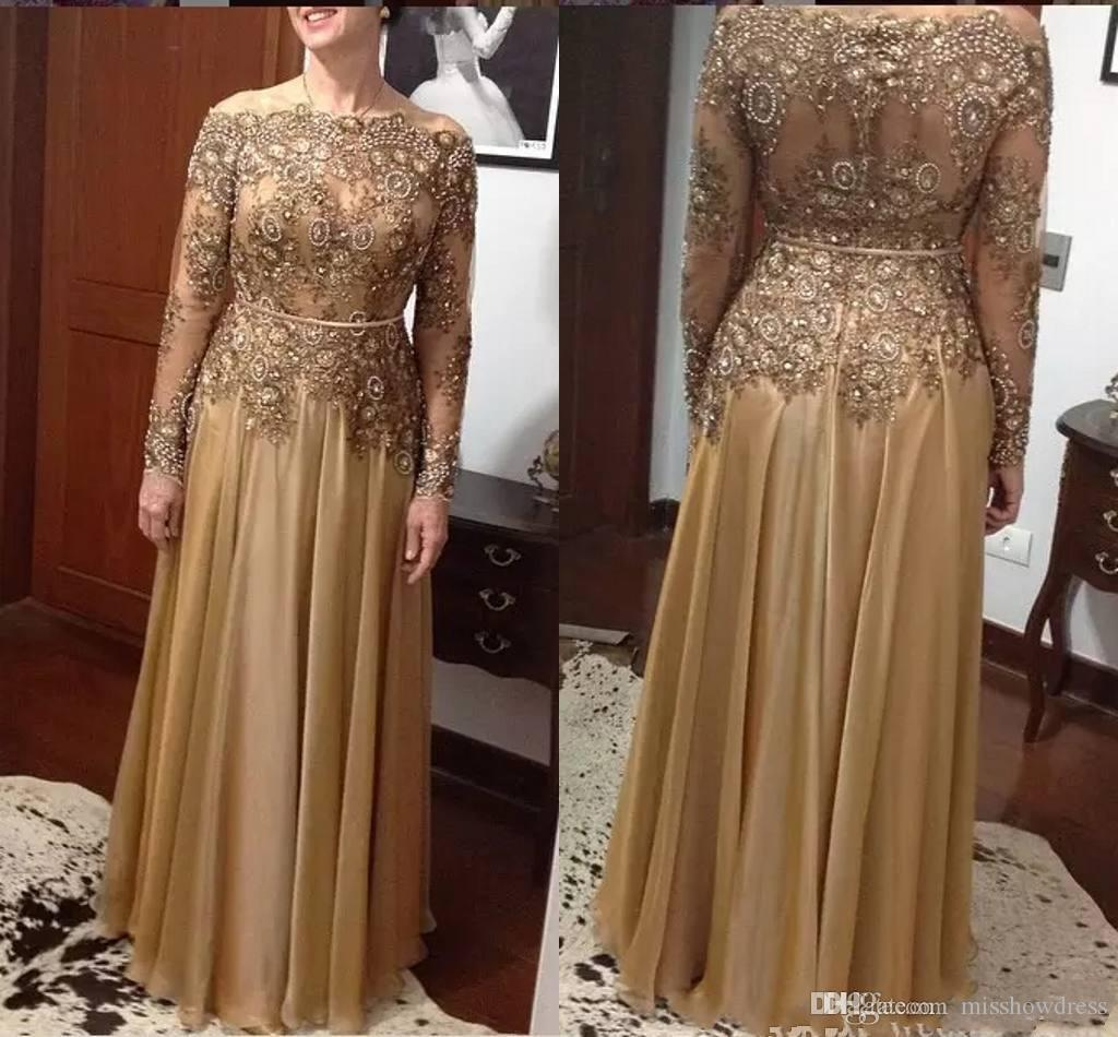 2018 Elegant Gold A Line Lace Mothers Dresses Beads Mother