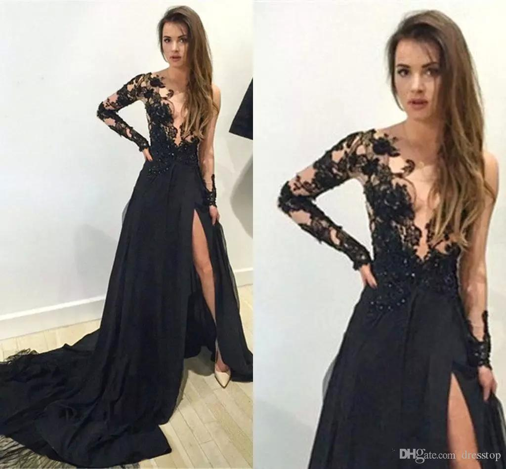 Black Sexy Split Evening Dresses V Neck Long Sleeve Chiffon Prom Party Wear For Formal Occasion Custom Made