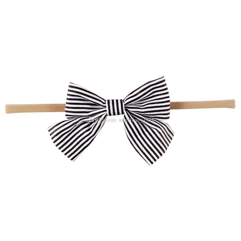 Butik aksesuarları Bebek naylon Bantlar Saç aksesuarları Polka dots Stripes Baskı Elastik kafa bantları Kız Yay 2017