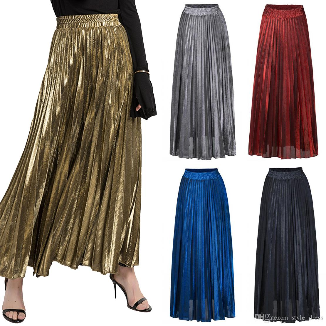 3d7ad3cc4 Falda larga plisada metálica de las mujeres falda maxi de la cintura alta  del tobillo ocasional