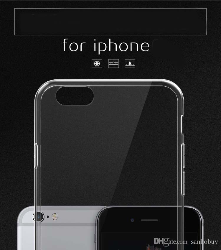 Kristal TPU Cep Telefonu Kılıfları iPhone X 8 8 için Artı ultra-ince 0.5mm su geçirmez damla nakliye