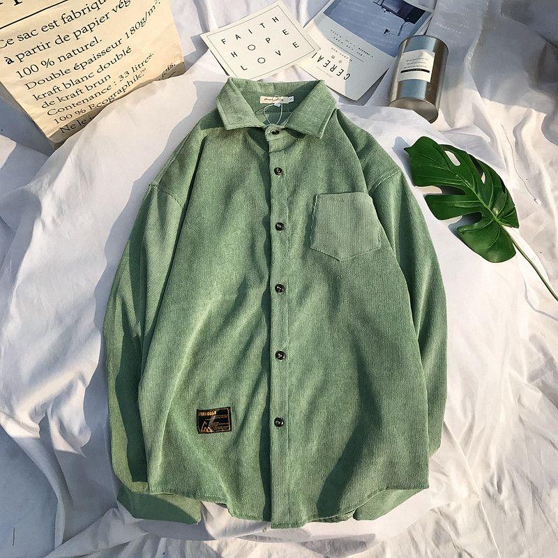 016c28c180c1 Corduroy Material Turn-down Collar Men's Shirt Long Sleeve 2018 Winter  Solid Color Casual Shirt Men 4 Colors 8002WK