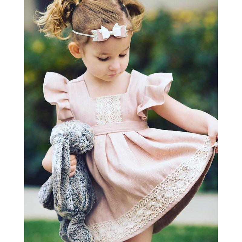 Myudi - 2017 Fille Sans Manches Robes Rose Princesse Enfants Vêtements De Bébé En Dentelle Toddler Fleur Robe Enfants Cadeau 1-4A