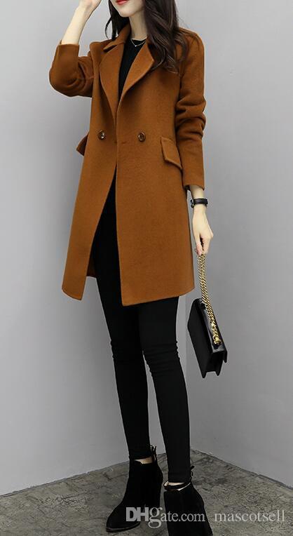 Laine De Élégant Haute Cachemire Vestes Slim Nouveau Long Femmes Hiver Manteau Qualité Chaude Cardigan Mélange Vente Manteaux Femme Veste xYwxn1TIXq