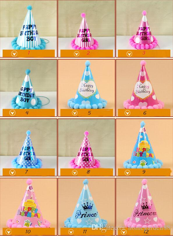 baby glitter Birthday crown Headbands Girls cone shape Hairband Kids party supplies princess tiara Hat boutique hair accessories