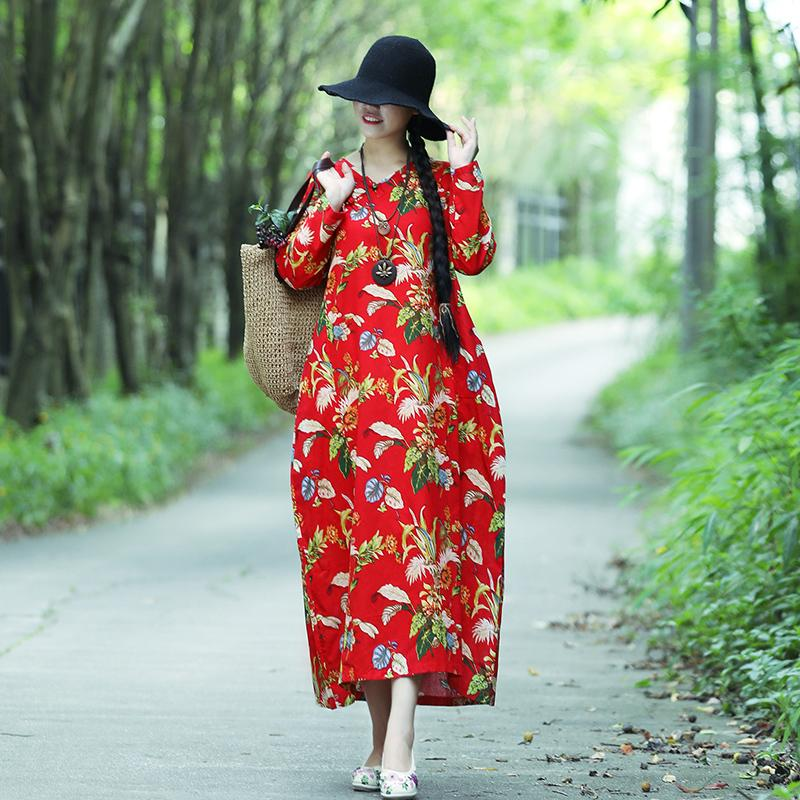 e690c95df90 Ilstile 2018 Women S Long Sleeve V Neck Floral Print Plus Size Long Dress  National Autumn Casual Loose Dress Cotton Linen Abaya Ladies Cocktail  Dresses ...