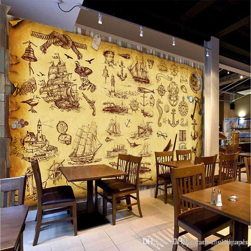 Home Design 3d Gold Ideas: Custom Retro Nostalgia Graffiti Murals Wallpaper Coffee