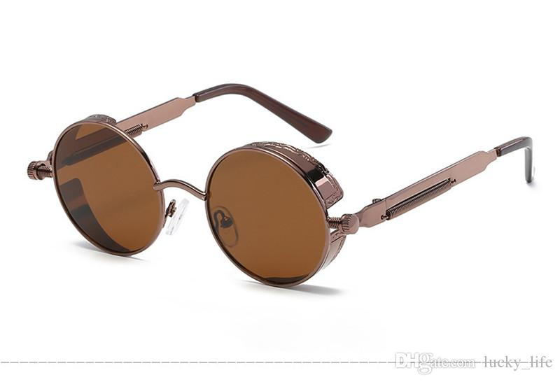 High Quality UV400 Gothic Steampunk Mens Sunglasses Coating Mirrored Sunglasses Round Circle Sun glasses Retro Vintage