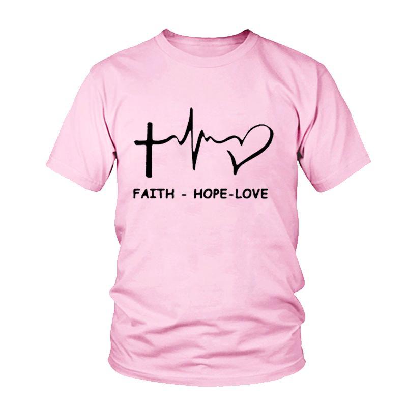 b70d0ab1a9068 Women'S Tee Christian 2018 Women T Shirt Summer Short Sleeve Faith Hope  Love T Shirt O Neck Casual Ladies Tee Valentine Tops Cool Sweatshirts Online  Random ...