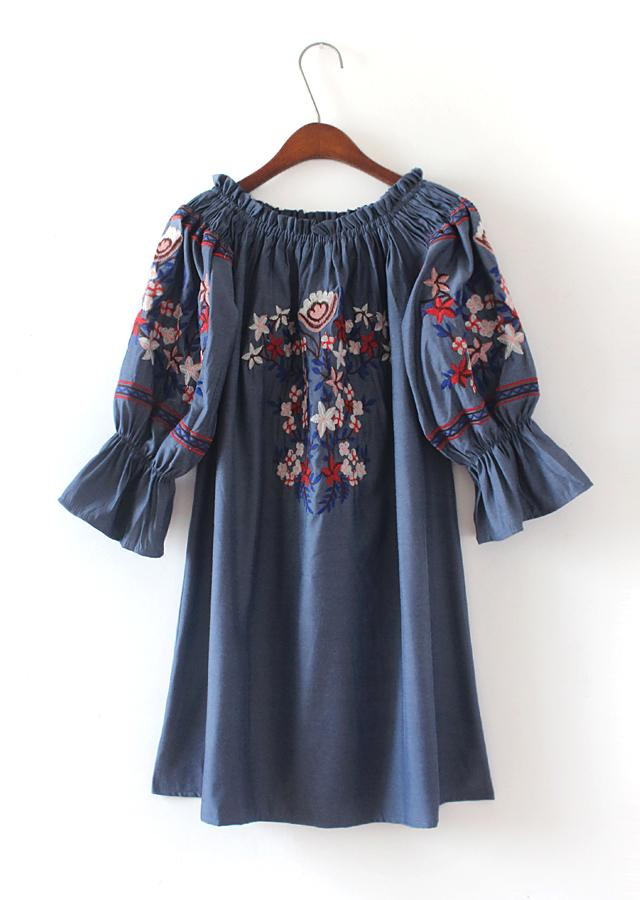 Ethnic Bohemian Hippie Boho Harajuku Vintage Retro Floral Embroidered Denim  Blue Cotton Sweet Flare Sleeve Women Summer Dress Cheap Summer Dresses  Strapless ... a3b610dd8d0b