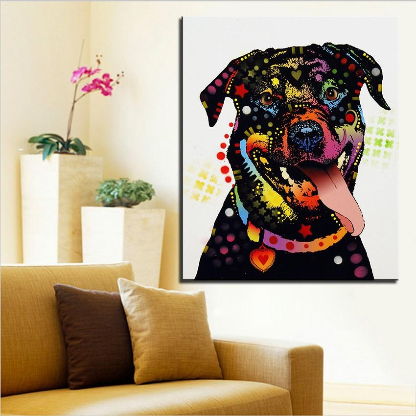 Print Oil Painting Wall Painting Happy Rottweiler Home Decorative