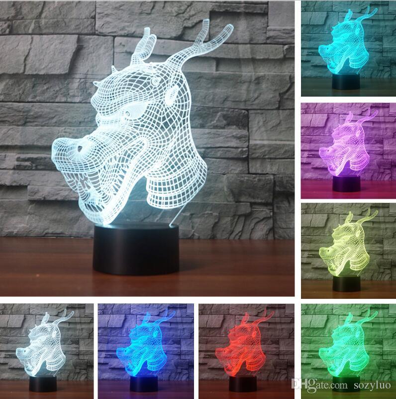 3D Ejderha RGB Renk Degrade Anahtarı Dokunmatik Uzaktan Görsel Çocuklar Için Led Gece Işıkları masa Lambası Bebek Uyku Dekor Arkadaş Noel Çocuk Oyuncak