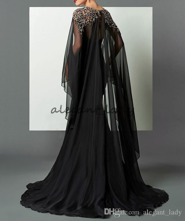 Black Mermaid Arabic Formal Evening Dresses 2018 Elie Saab Beaded Chiffon With Cape African Prom Party Gown Pageant Celebrity Dress Runway