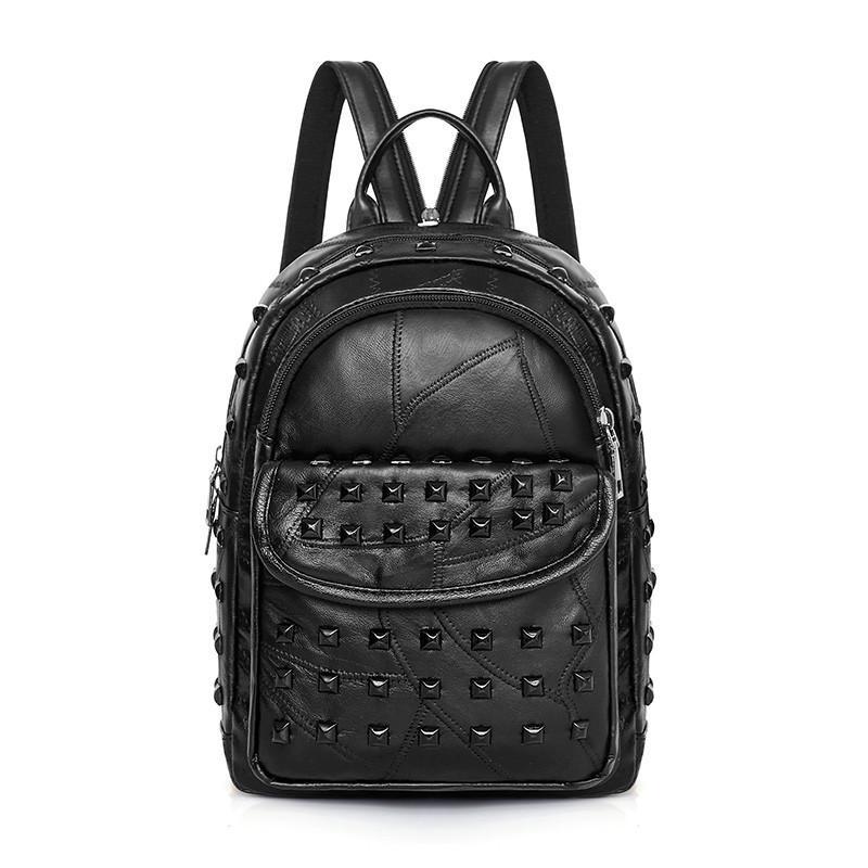 eed835282c Koraba Brand Women Genuine Leather Punk Rivet Bags Backpack Small Daily Cute  Black Backpack Teenager Girls Schoolbag Casual Book Bags Herschel Backpacks  ...
