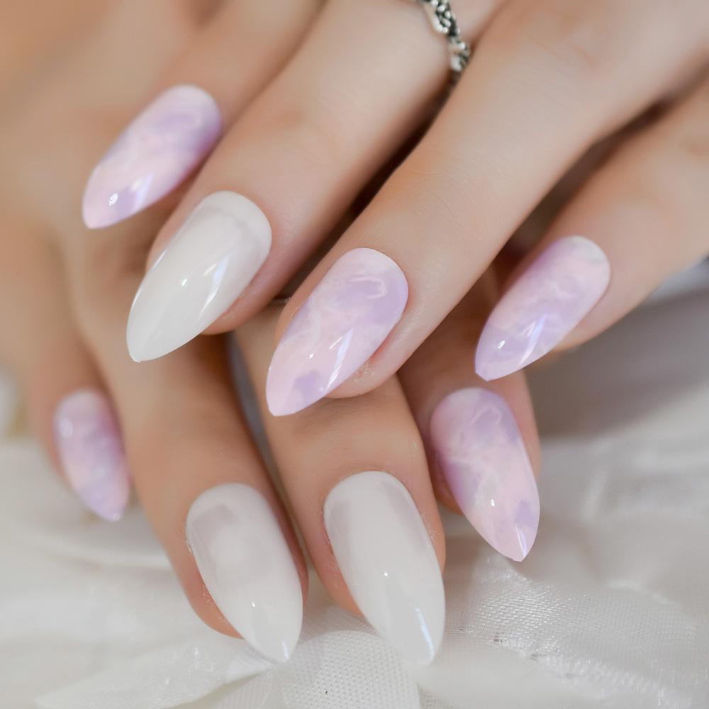 Purple And White Marble Design Nail Art Kit Stiletto Medium False