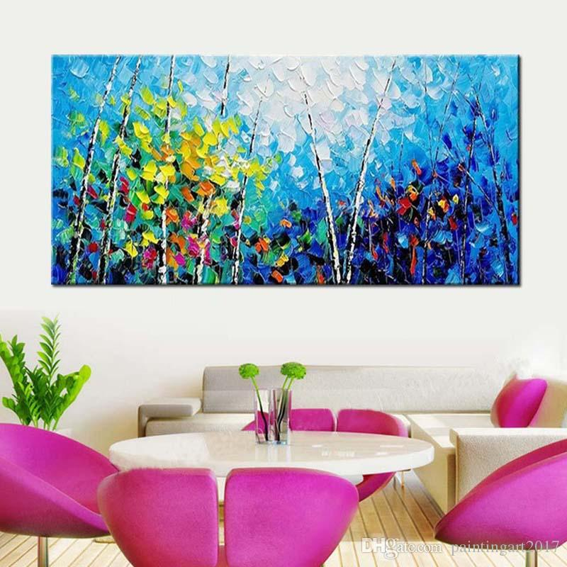 2018 Hand Painted Wall Pop Art Abstract Blue Palette Knife Forest ...