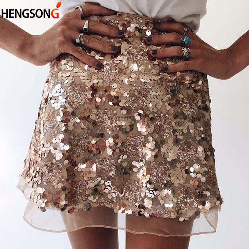 2fe2aa1de Falda de mujer Sexy cintura alta del partido del brillo Mini falda de una  línea de lentejuelas de plata dorada cremallera Sexy faldas cortas para ...
