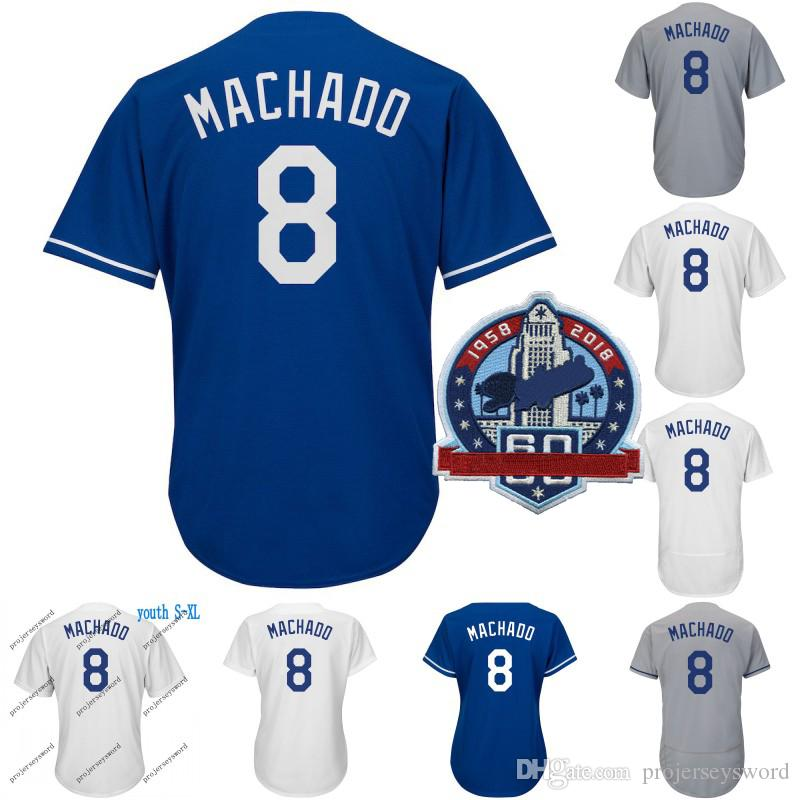 8 Manny Machado Jersey Mens Womens Youth Los Angeles 60th Patch 10 ... 031820ca6