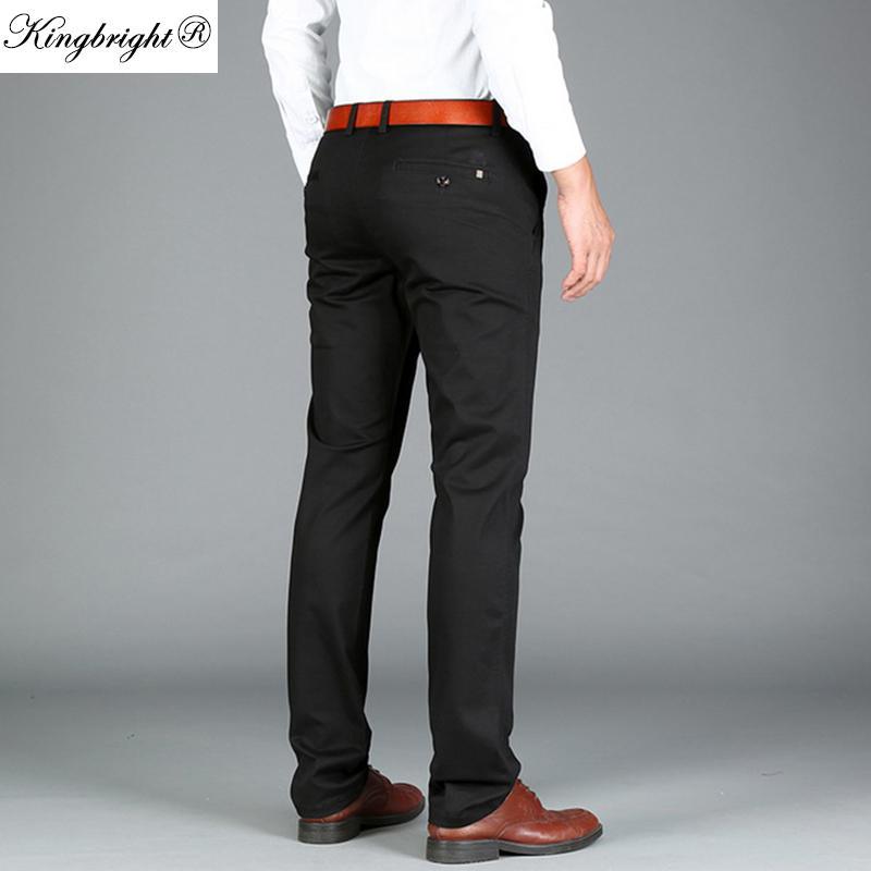 ba5f28759 Compre King Bright Marca Moda Hombres Pantalones Casuales Negro Ejército  Verde Pantalones Hombres Pantalones De Negocios Hombres Algodón Otoño Caqui  ...