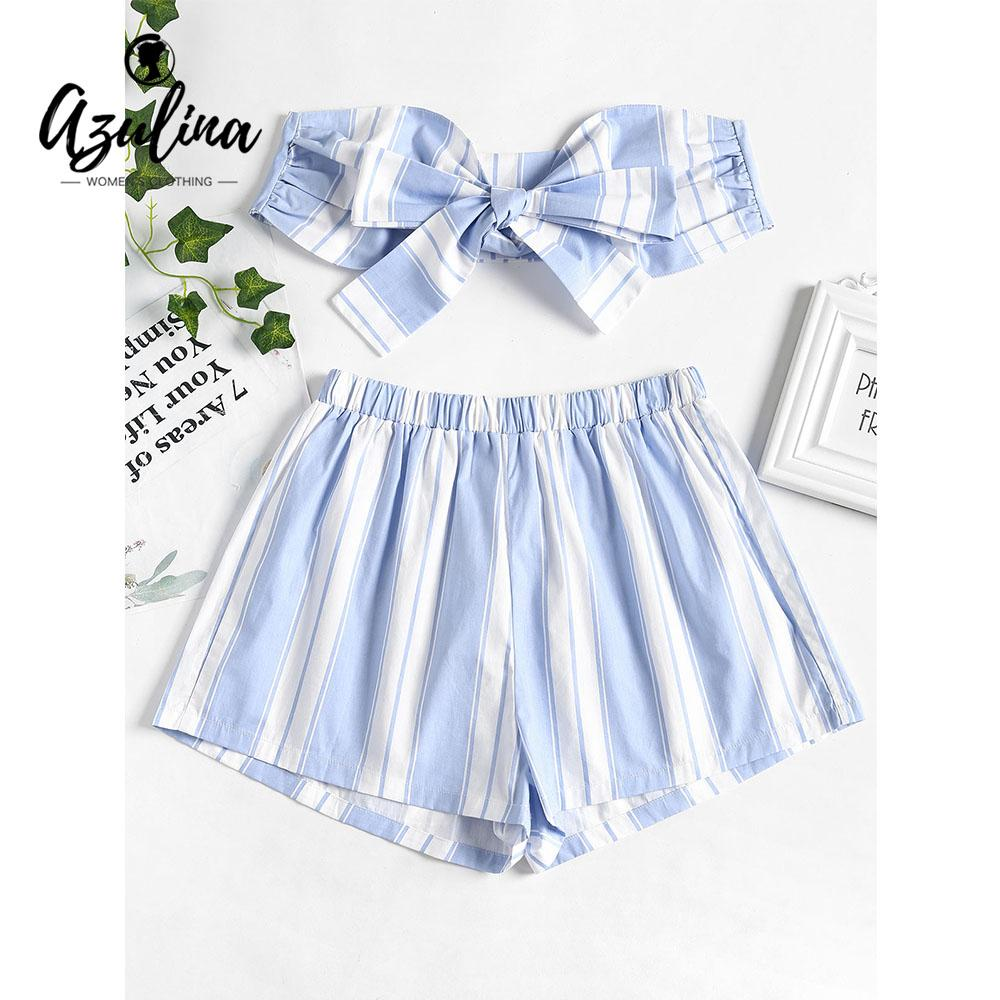 de7bb3b9c5 2019 20187 AZULINA Striped Two Piece Set Summer Tie Front Knotted Strapless  Tube Top Cotton Elastic Waist Shorts Set Women Suit Casual Sets From  Huang01