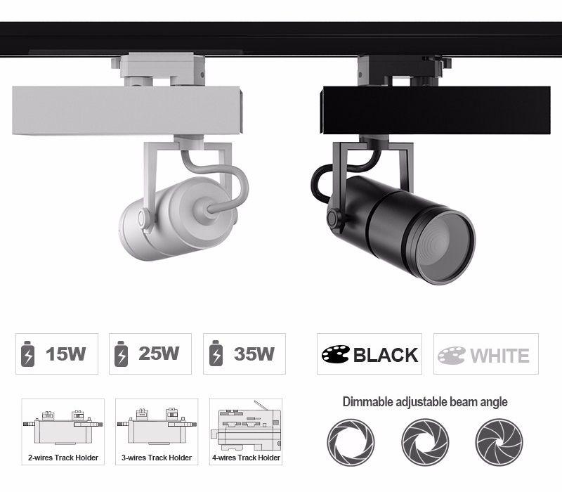 10°-70° Professional adjustable focus 15W LED track light Head ,CRI90+Citizen COB LED ,UL FCC driver Art Exhibition Light 5 Year Warranty