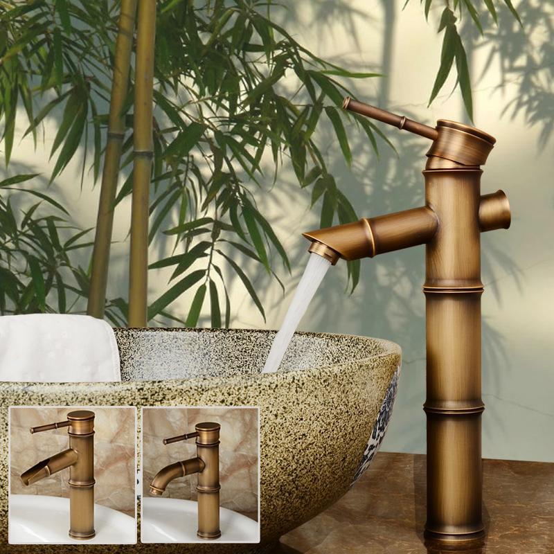 heißes und kaltes Badezimmer Bambus Waschbecken Wasserhahn antike Farbe  Pinsel beenden