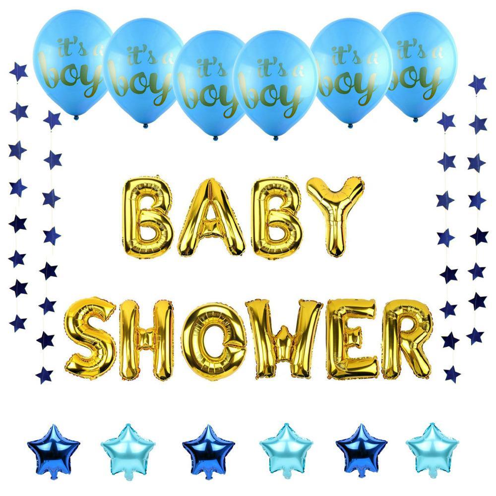 بالونات Lincaier الطفل دش مجموعة لها صبي فتاة راية حزب زينة Babyshower اللوازم الجنس تكشف