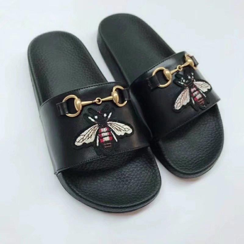 124b42017 Top Quality Luxury Letter Embroidery Bee Tiger Flip Flop Leather ...