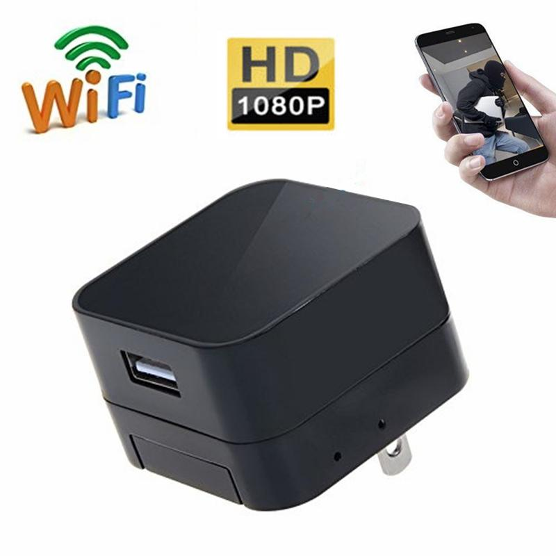 HD 1080P Wifi Network Camera Wall Plug Mini USB Charger DVR Wireless Nanny Cam Adapter Security Camera Support Android IOS Real-Time Viewing
