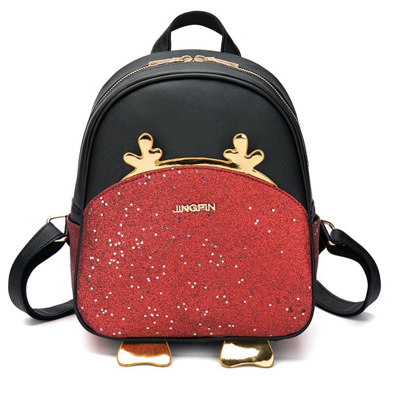 d539facce79 Мода женщины небольшой кожаный рюкзак Bling сумка милый олень мультфильм  школьные ...