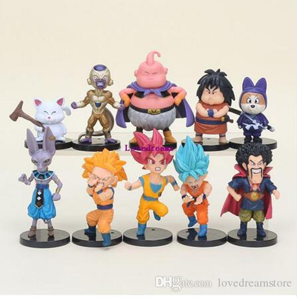 Dragon Ball Z Super Saiyan Son Goku Vegeta Buu Freeza Beerus PVC Action Figures Model Toy Phone Accessories