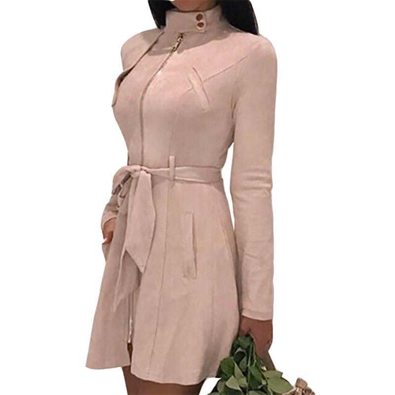 Acheter Streetwear Mode Travail Bureau Veste Solide Fermeture Éclair Trench  Long Manteau Nouvel Automne Hiver Femmes Daim Laine Mélanges Robes M0192 De  ... bcb244f7d60a