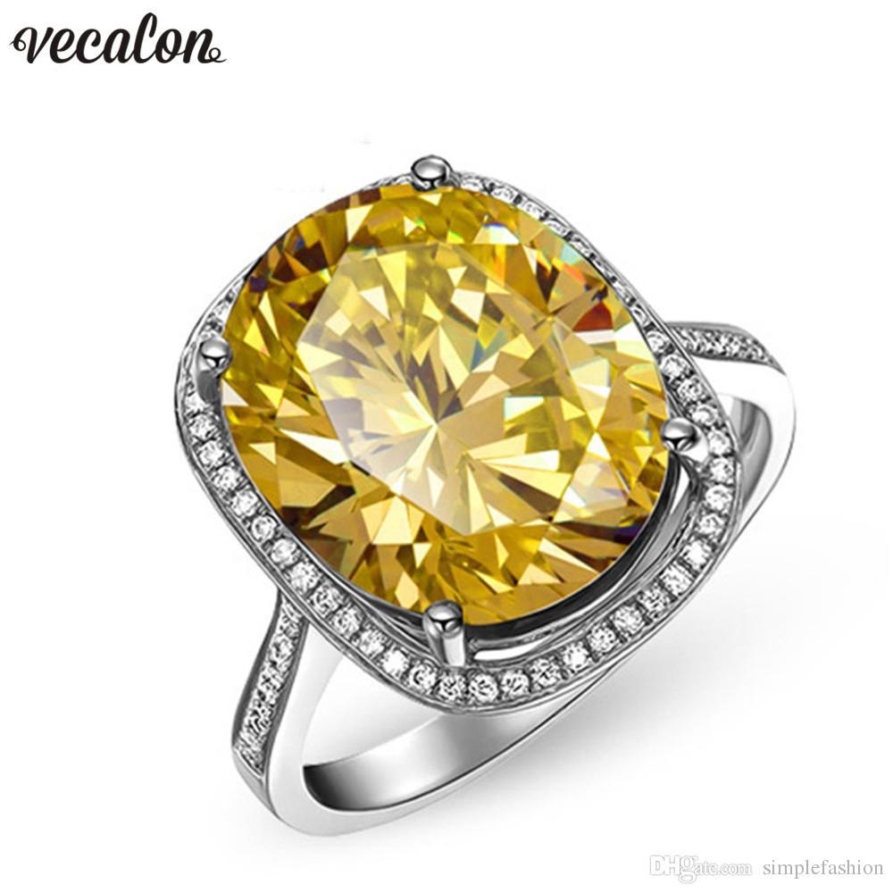 Vecalon 2018 Handmade Big Wedding Band ring donna taglio ovale 10ct 5A zircon cz White Gold Filled anelli di fidanzamento femminile