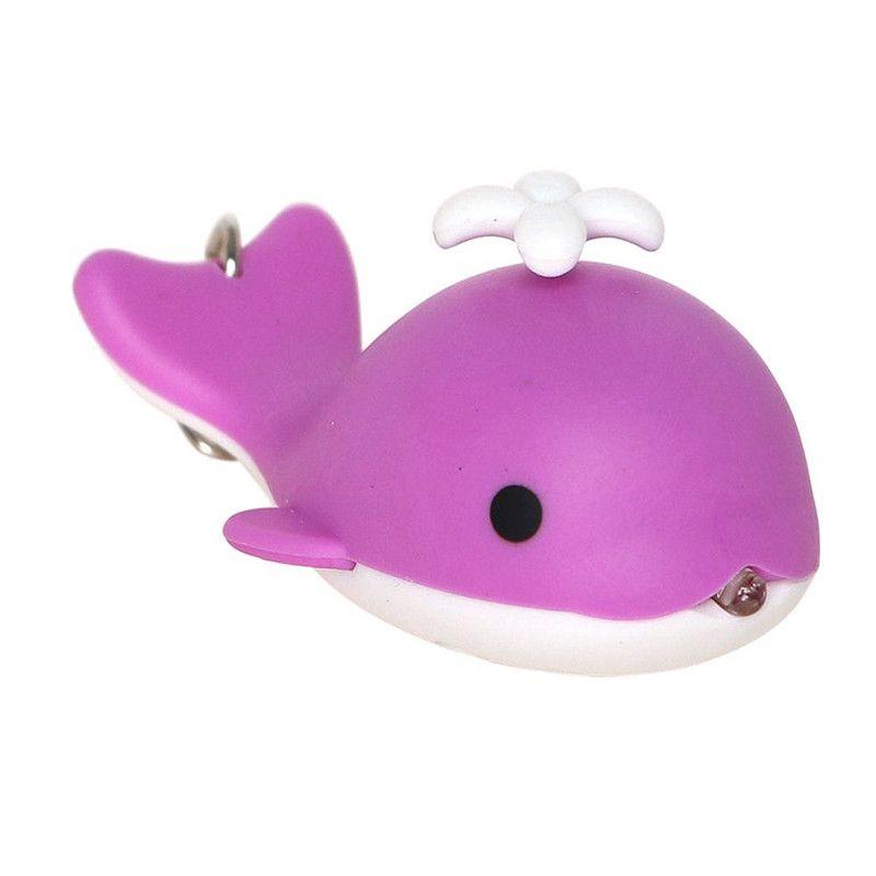 Novelty Flashlight Sound Light Key Chain Car Auto Keyring Cute Whale LED Keychains Emergency Flash Light Q0594