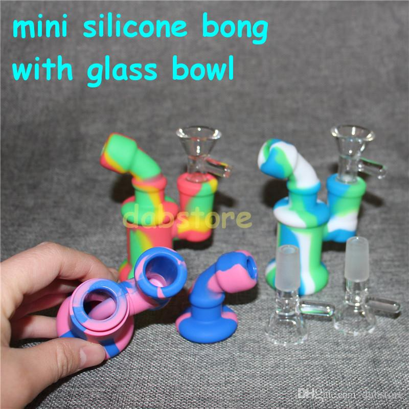 New Design Silicone Water Pipe Recycler Bubbler bong unbreakabale silicone bongs with glass bowl