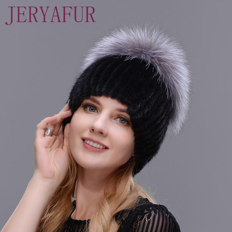 24e5a6f3f68 New Style Winter Hat Real Female Mink Fur Hat For Women Knitted Mink Fox Fur  Cap Female Ear Warm Hat Cap Silver Fox Part Less D18110102 Cap Hat Cute  Beanies ...