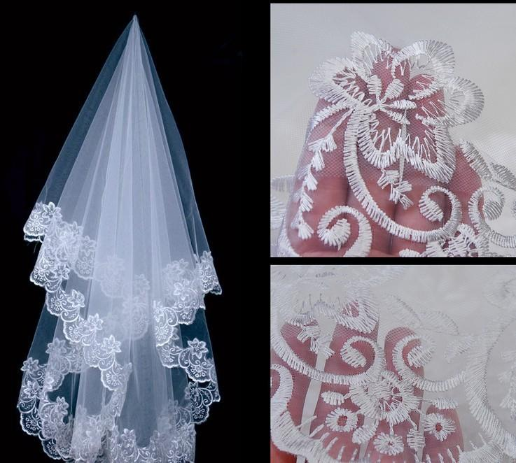 Bridal Veils Lace Edge Wedding Accessories Veils 1.5 Meters Long White and Ivory Veils